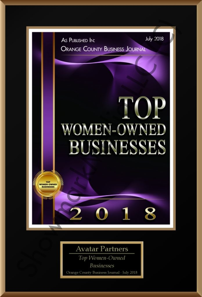 Orange County Business Journal Publishes AVATAR as Top Women-Owned Businesses