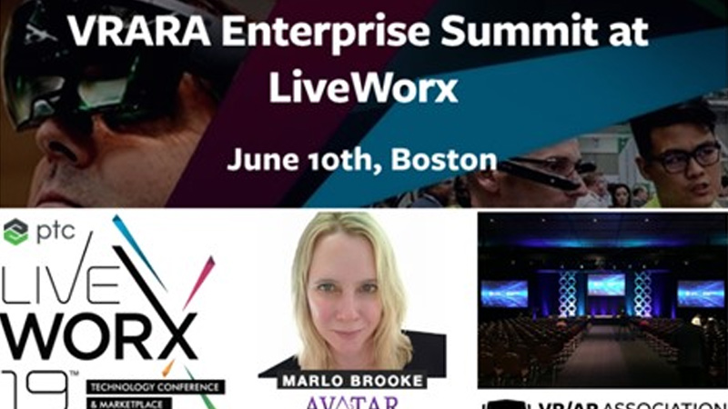 Marlo Brooke to speak at the VR/AR Association Enterprise Summit during LiveWorx in Boston, June 10th